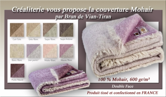 couverture de lit bvt mohair double face 600 gr m brun de vian tiran en mohair fabrication. Black Bedroom Furniture Sets. Home Design Ideas