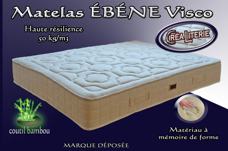 matelas b ne visco relax m moire de forme densit 50 kg m coutil bambou fabrication. Black Bedroom Furniture Sets. Home Design Ideas